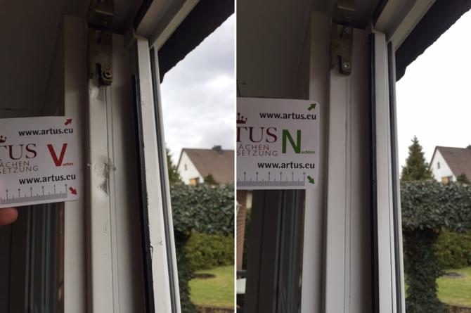Hebelspuren am Fenster