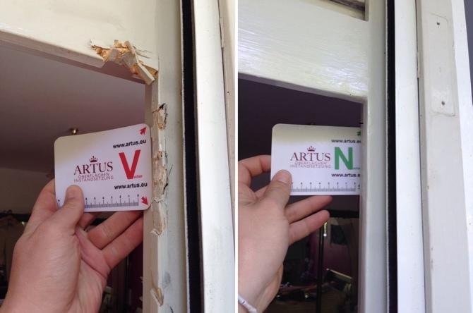 Einbruchschaden Absplitterung durch Einbruch bei einem Holzfenster