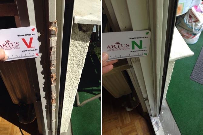 Einbruchschaden Absplitterung durch Einbruch bei Holzfenster
