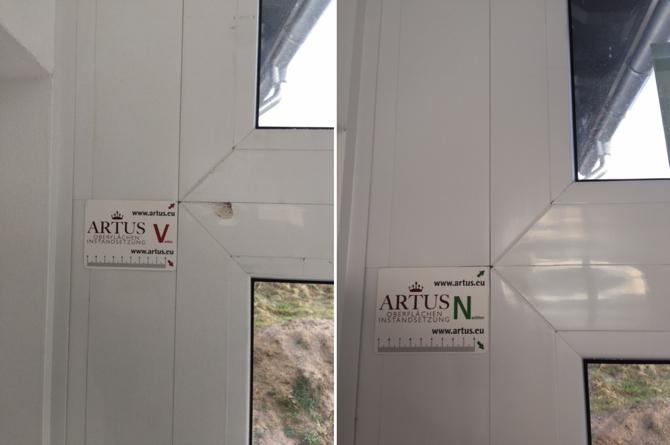 Hitzebeschädigung an einer Fensterfolierung