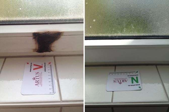 Fensterbank Brandschaden bei einem Kunststofffenster