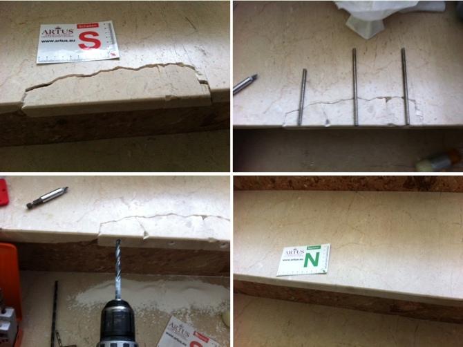 Treppe Marmor Abplatzung Trittstück
